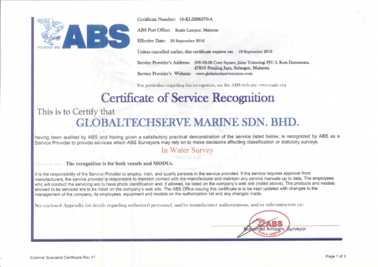 AMERICAN BUREAU OF SHIPPING (ABS) CERTIFICATION | GlobalTechserve Marine